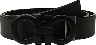Salvatore Ferragamo Adjustable Tonal Gancini Belt - 679673 (Black) Mens Belts