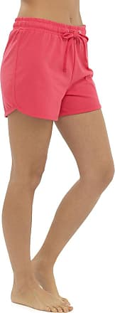 Tom Franks Womens Ladies Solid Colour Elasticated Cotton Blend Summer Beach Shortie Shorts - Coral Pink - 20-22