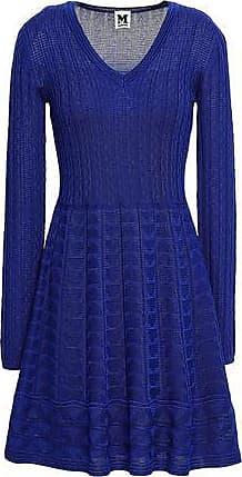 M Missoni M Missoni Woman Crocheted Wool-blend Dress Royal Blue Size 38
