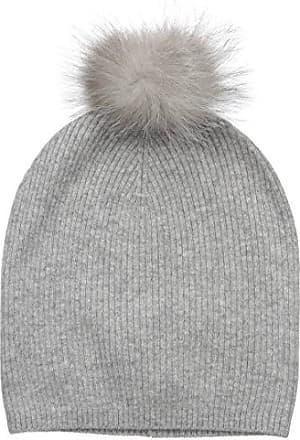 cbc2c5f5802103 Sofiacashmere Womens 100% Cashmere Slouchy Beanie W/Indigo Fox Fur Pom,  Elephant Grey