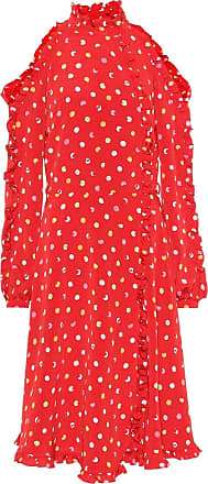 *NEW* Red//Off White chiffon Scattered Polka Dots Print Dress Fabric *FREE P/&P*