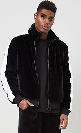21 Men Striped Faux Fur Jacket at Forever 21 Black/white