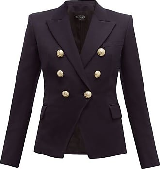 Balmain Double-breasted Wool-twill Blazer - Womens - Navy