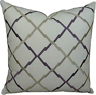 Plutus Brands Plutus Lyford Handmade Throw Pillow, 16 x 16, White/Purple/Taupe