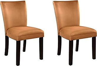 Coaster Fine Furniture Bloomfield Microfiber Parson Side Chairs Cappuccino and Gold (Set of 2)