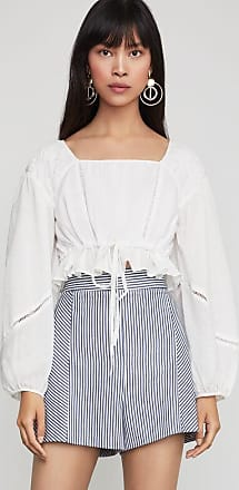 BCBGeneration Shirred Cropped Peasant Top