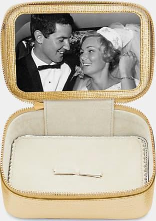 Anya Hindmarch Bespoke Medium Keepsake Box Metallic Capra in Pale Gold