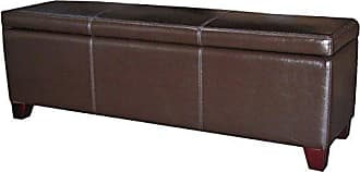 New Pacific Direct 194454B-01 Luisa 54 Bonded Leather Storage Ottoman, Brown