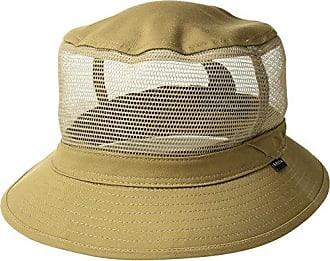 Brixton Mens Hardy Short Brim Mesh Bucket Hat, Dark Khaki, L