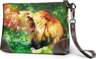 GLGFashion Womens Leather Wristlet Clutch Wallet Lion Storage Purse With Strap Zipper Pouch