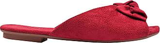 Eleganteria Mule Aberto Feminino Rasteira Bico Quadrado Vermelho Eleganteria Tamanho:40;Cor:Vermelho