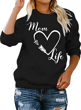 Dresswel Women Mom Life Sweatshirt Jumpers Crew Neck Long Sleeve Tops Pullover Heart Graphic Blouse Black