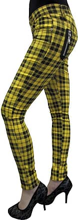 Banned New Womens Banned Plaid Tartan Emo Punk Skinny Trousers Size 26-40 (34, Yellow)