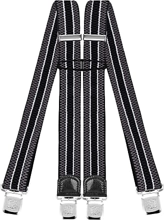 Decalen Mens Braces with Very Strong Clips Heavy Duty Suspenders One Size Fits All Wide Adjustable and Elastic X Style (Grey 2)