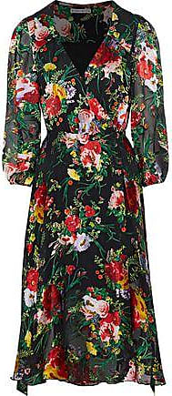 Alice & Olivia Alice + Olivia Woman Abbey Fil Coupé Chiffon Wrap Dress Multicolor Size 2