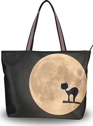 Lorona Women Moon Cat Mystical Halloween Canvas Shoulder Hand Bag Large Capacity Tote Bag