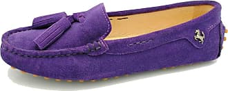 MGM-Joymod Womens Comfort Flats Purple Suede Leather Tassel Driving Walking Leisure Slip-on Loafers Boat Shoes 6.5 M UK