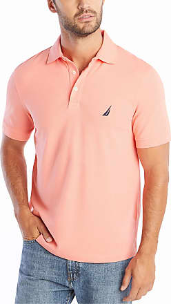 Nautica Mens Short Sleeve Solid Stretch Cotton Pique Polo Shirt, Pale Coral, Large