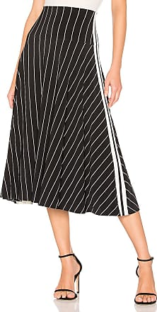 Norma Kamali Side Stripe Flared Skirt in Black