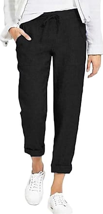 TOMWELL Womens Summer Plus Size Elastic Waist Pants Loose Casual Solid Color Trousers Cotton and Linen with Drawstring Z Black X-Small