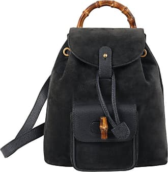 1f51f92b6ef Gucci Grey-blue Suede   Leather Bamboo Handle Mini Drawstring Backpack