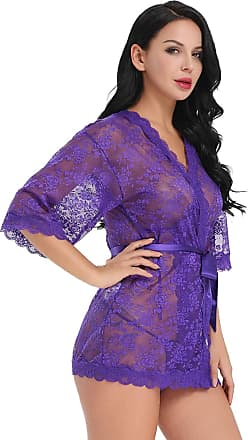 Uzi Nyc Lingerie Nightwear for Women Lace Kimono Robe Nightgown with Belt,Purple,XXL