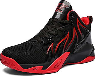 LanFengeu Men Sneakers Breathable Shock Absorbing High Top Casual Trainers Lighweight Anti Slip Walking Running Fitness Basketball Shoes Black Red