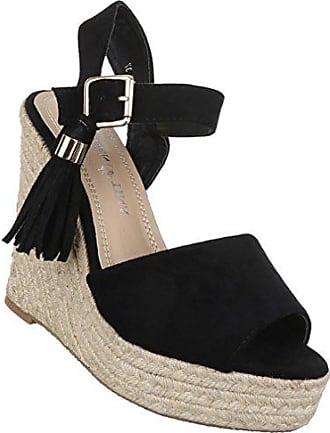 Schuhcity24 Damen Sandaletten Schuhe Fransen Keilabsatz Wedges Pumps offen  Sommer Urlaub Schwarz 41 107d870054