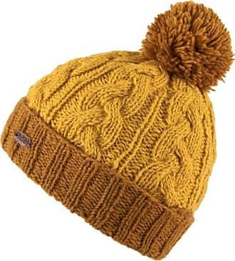 KuSan 100% Wool Cable Turn Up Bobble Hat PK1928 (Caramel)