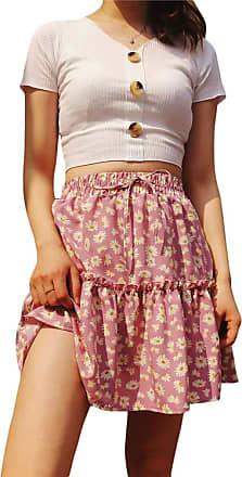 QIYUN.Z Womens A-line Floral Print Sunflower Print Pleated Mini Short Skirts with Drawstring Pink XS