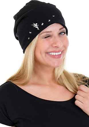 3Elfen Ladies Jersey Slouch Beanie HAT with Playing Fairy Print Simple Classic - Black White