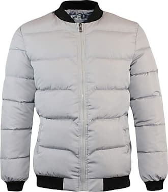 Yonglan Mens Padded Down Jacket Winter Baseball Collar Warm Puffer Coat Light Grey M