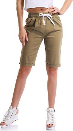 OCHENTA Womens Casual Elastic Waist Knee-Length Bermuda Shorts with Drawstring 9800 Khaki UK 16 - Tag 5XL