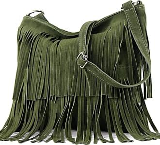 modamoda.de Ital. Leather bag Shoulderbag Shoulder bag Ladiesbag Wild leather T125, Colour:army Green