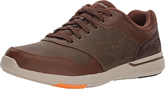 Skechers Mens Relaxed Fit-Elent-Velago Oxford, Brown, 7 M US