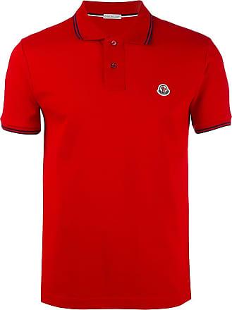 Moncler Camisa polo com acabamento listrado - Vermelho