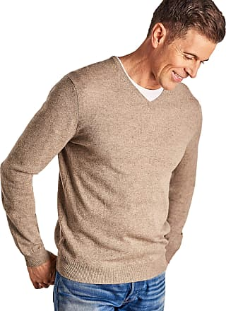 WoolOvers Mens Cashmere and Merino V Neck Jumper Pepper, XXL