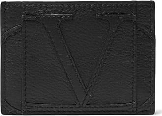 Valentino Logo-appliquéd Full-grain Leather Cardholder - Black