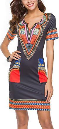 Inlefen Womens Summer Dress Casual Short V-Neck African Dresses Mini Ladies Beach Dress Black red 2XL