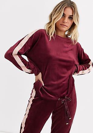 Hunkemöller velour sweatshirt with star tape in burgundy-Red