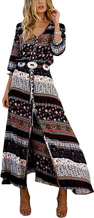Yonglan Womens Boho V Neck Floral 3/4 Sleeve Side Slip Tie-Waist Long Sleeve Floral Maxi Long Dress Brown 6 3XL