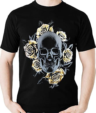 Dragon Store Camiseta Caveira E Rosas Douradas Camisa Blusa Banda Rock