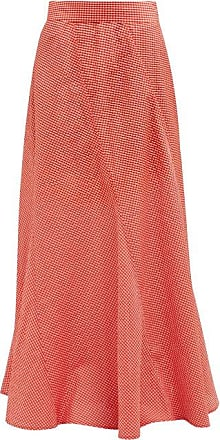 Ganni Panelled Gingham Seersucker Maxi Skirt - Womens - Red White