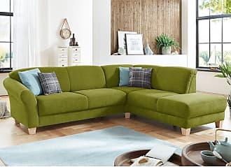 Ars Natura Ecksofa Cebu 2-Sitzer Grasgrün Webstoff 257x84x212 cm mit Bettkasten