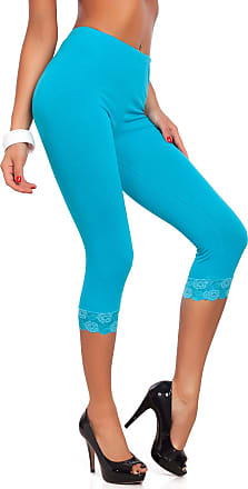 FUTURO FASHION Cropped 3/4 Lenght Cotton Leggings with Lace Turquoise
