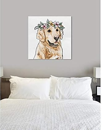 The Oliver Gal Artist Co. The Oliver Gal Artist Co. Animals Wall Art Canvas Prints Floral Crowned Golden Retriever Home Décor, 43 x 43, Brown, Pink