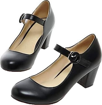 Womens Sweet Closed Toe Mary Janes Low Heels Ankle Strap Pumps Dating Shoes Size