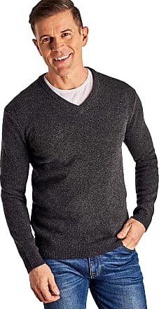 WoolOvers Mens Lambswool V-Neck Jumper Charcoal, XL