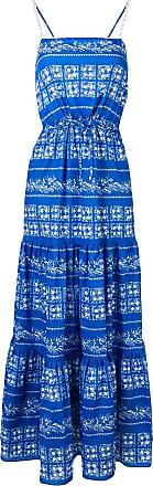 Blumarine Vestido com estampa floral e amarração na cintura - Azul