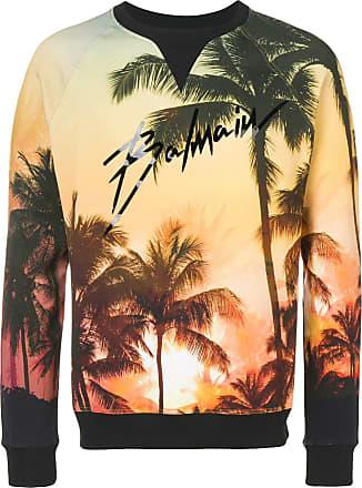 Balmain Palm tree print sweatshirt - Yellow